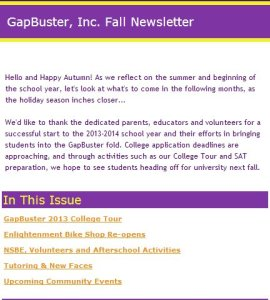 Our newsletter which details our happenings in the fall of 2013.