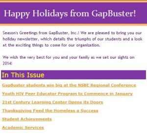 Our newsletter for the holiday season